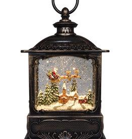 "10"" Glitter Lantern Santa Flying Over Village"