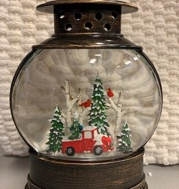 Red Truck Glitter Fishbowl Lantern with LED