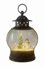 Santa & Friends Glitter Fishbowl Lantern with LED - Snowman