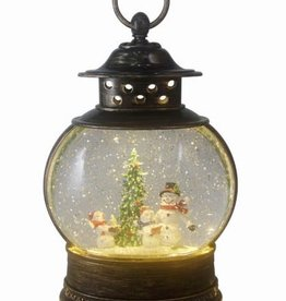 Santa & Friends Glitter Fishbowl Lantern with LED - Snowman
