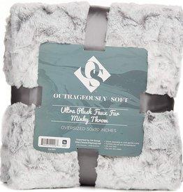 """Minky Faux Fur 50x70"""" Throw Gray"""