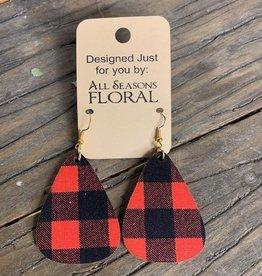 earring, red/black plaid