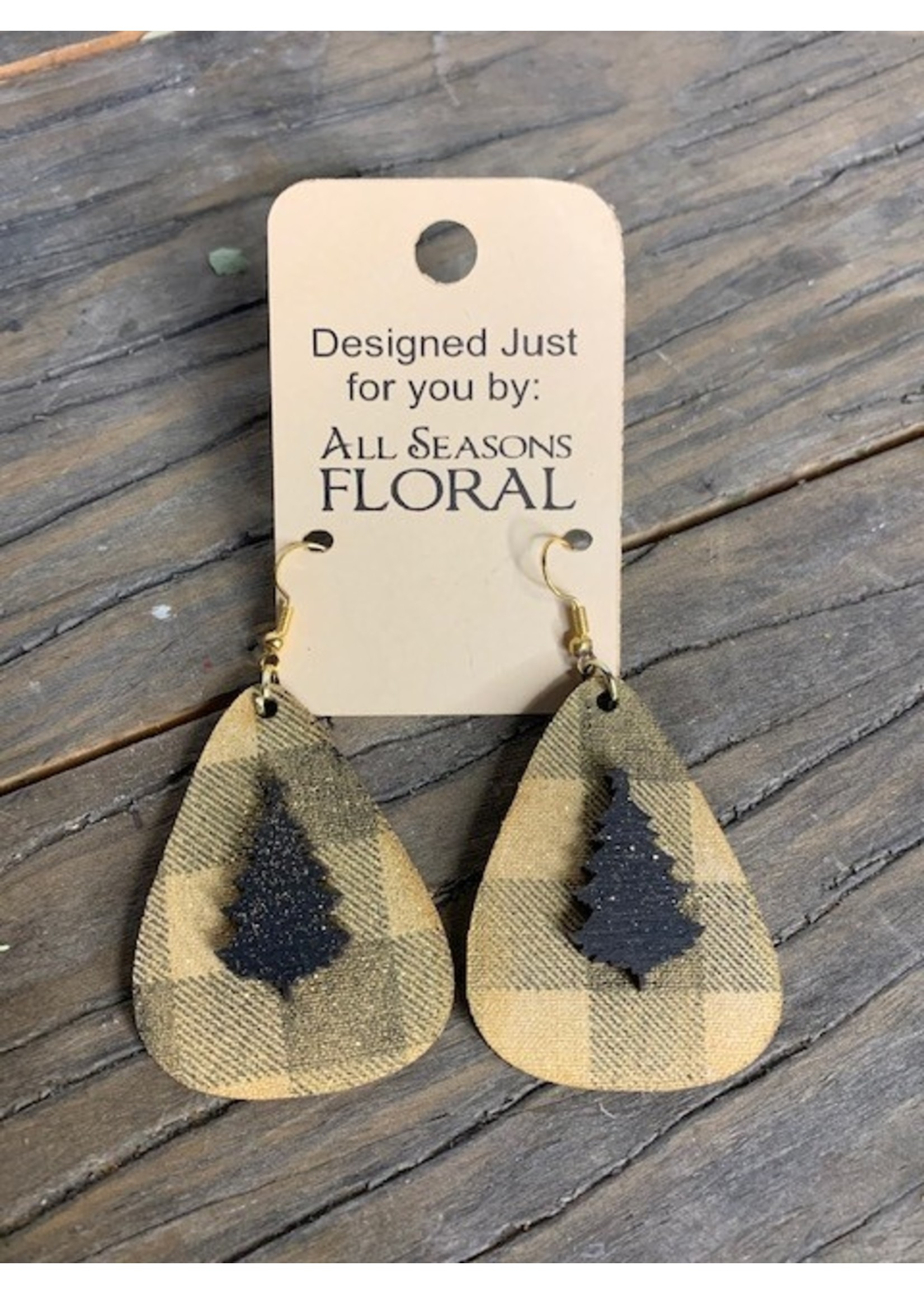 Earring, gold star on gold plaid