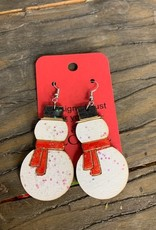 Earring, snowman red scarf