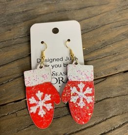 earring, snowflake on mittens