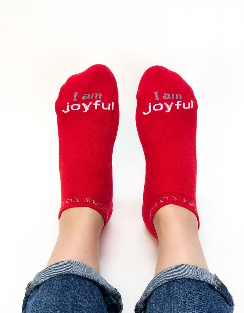 Notes to Self I Am Joyful Socks Red Large