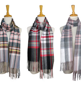 Fashion by Mirabeau Ultra Soft POP Plaid Scarf, Asst
