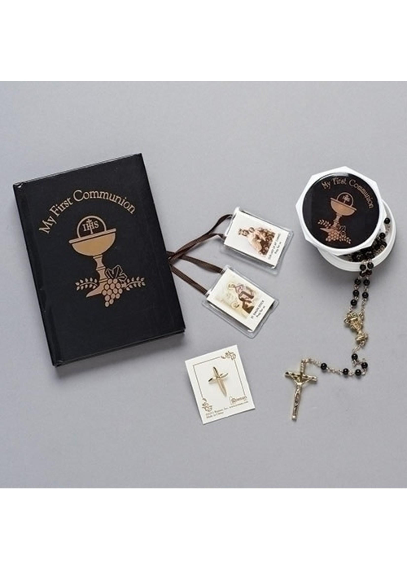 Communion Set Rosary, Book, Pin, Scaplr