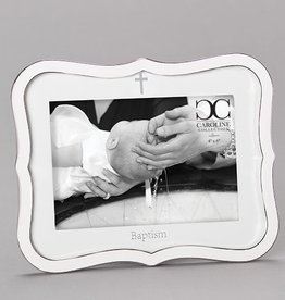 Roman White Baptism Frame 4x6