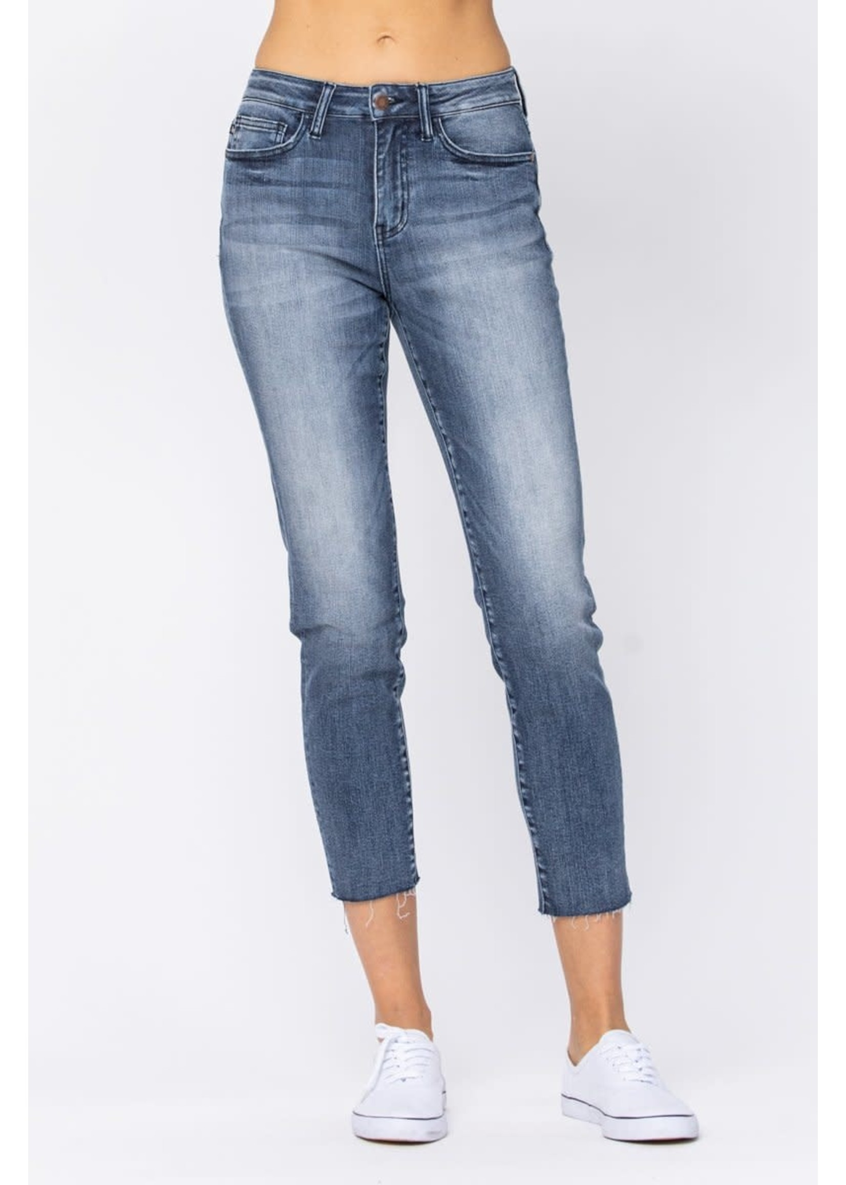 Judy Blue High-Rise Raw Hem Relaxed Fit