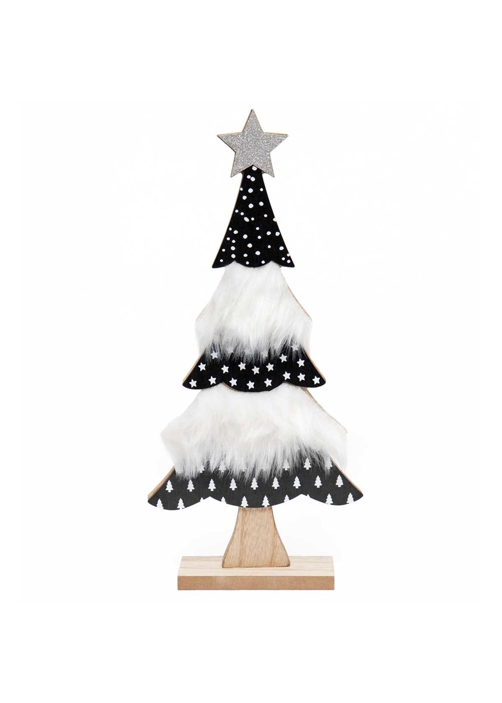 "Meravic Black & White Tree Shelf Sitter 12"""