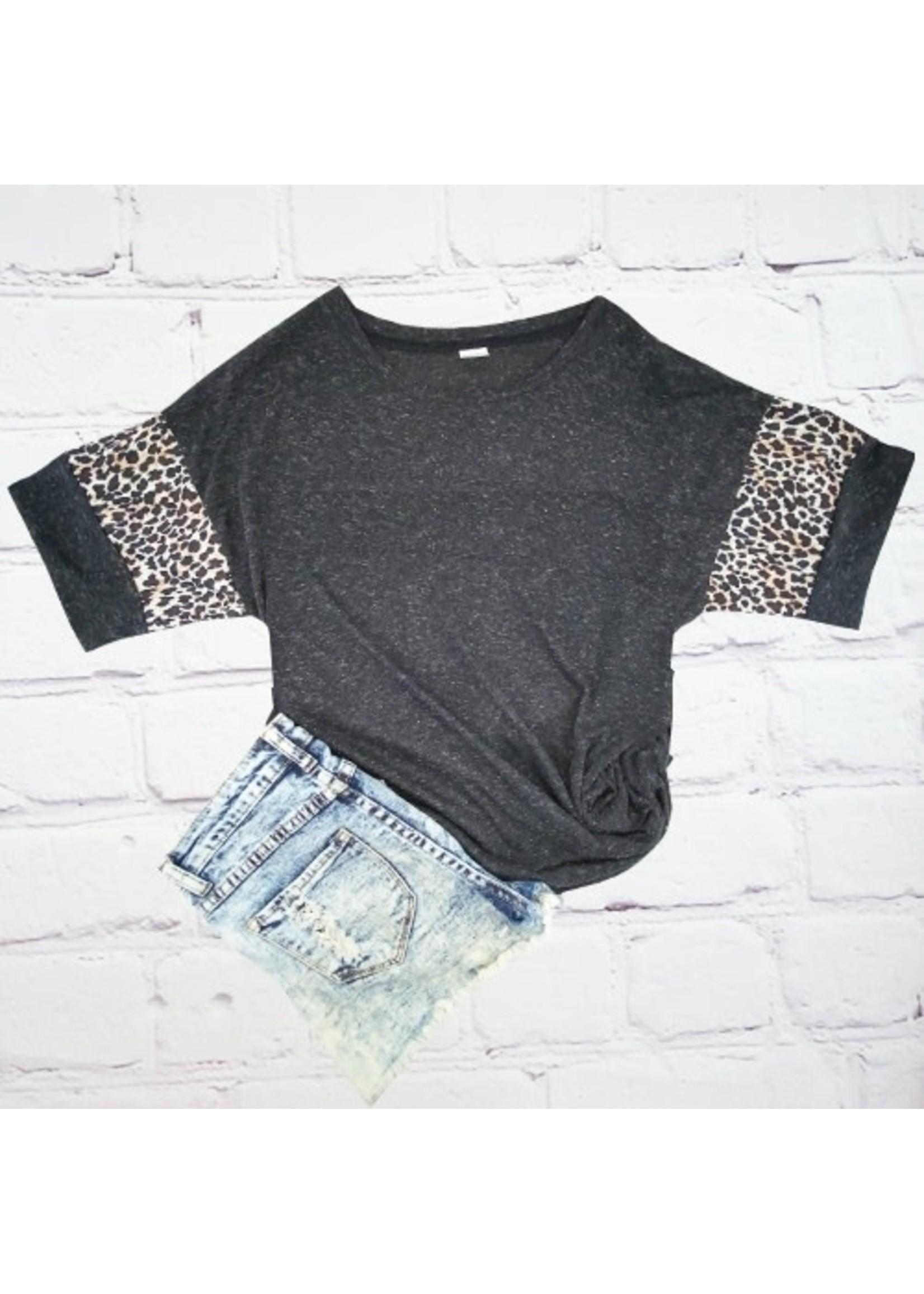 Sunshine & Rodeos Vintage Leopard Sleeve Tee Black