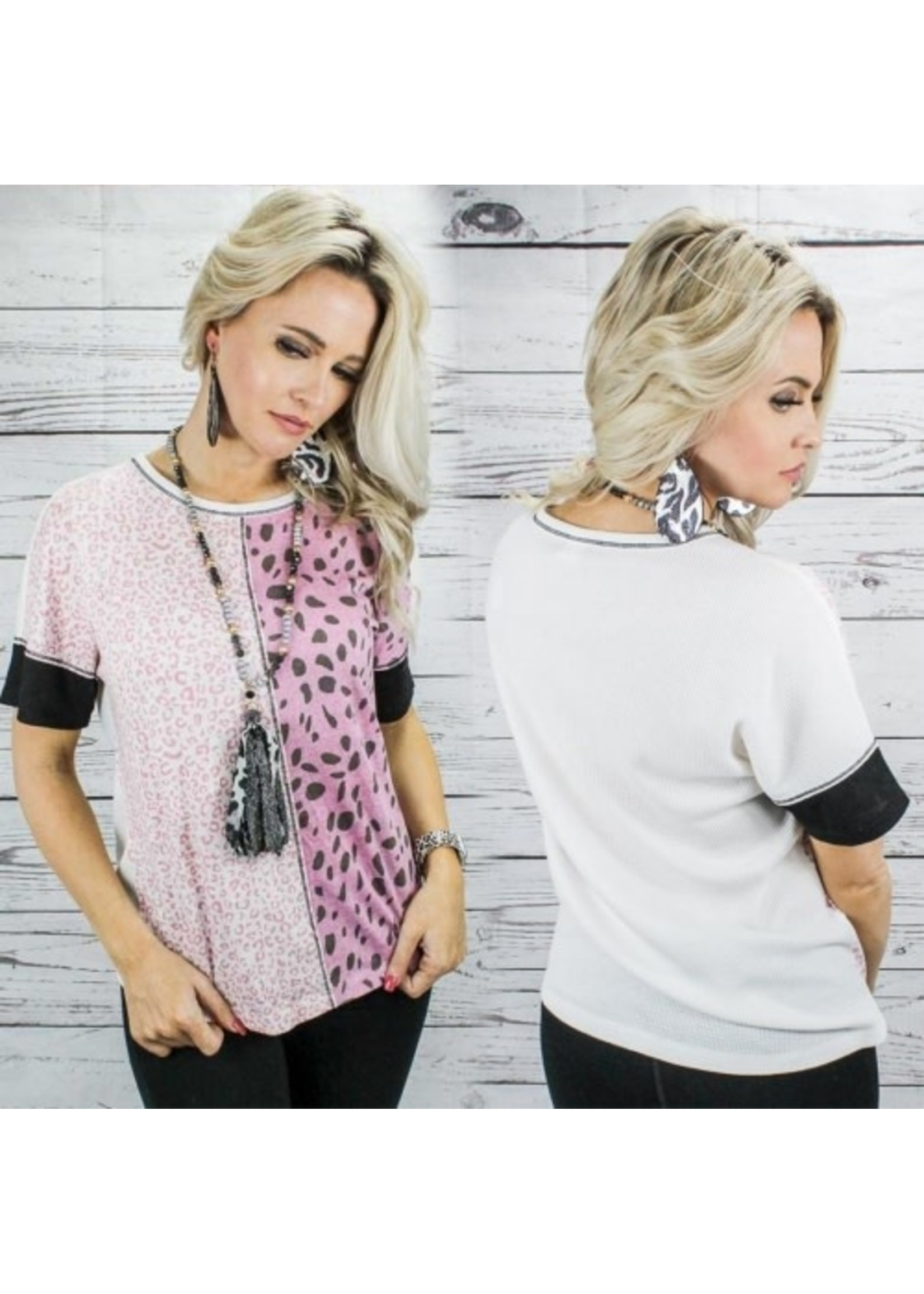 Sunshine & Rodeos Pink Leopard Top