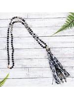 Black Leopard Tassel Necklace