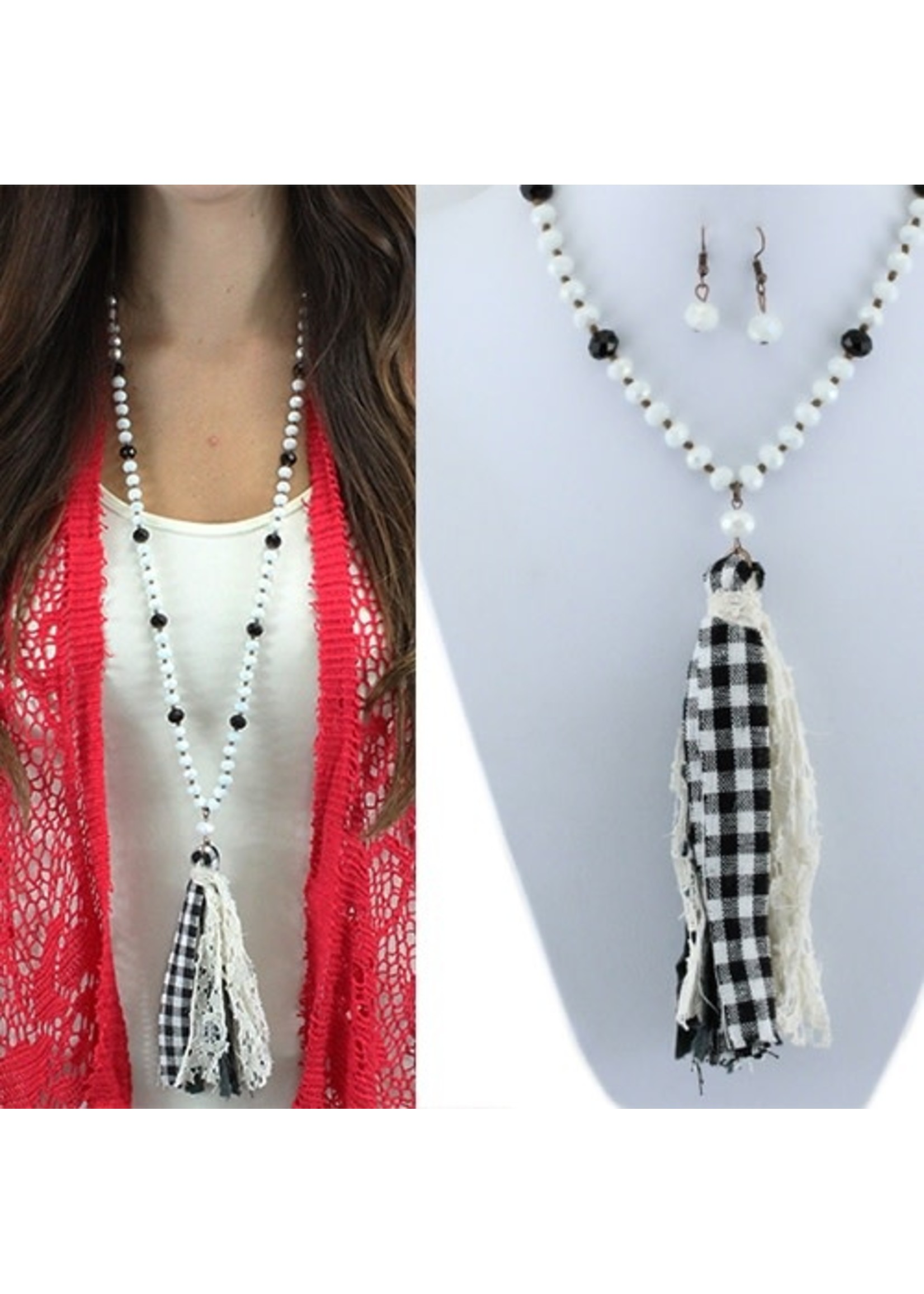Plaid Tassel Necklace and Earrings