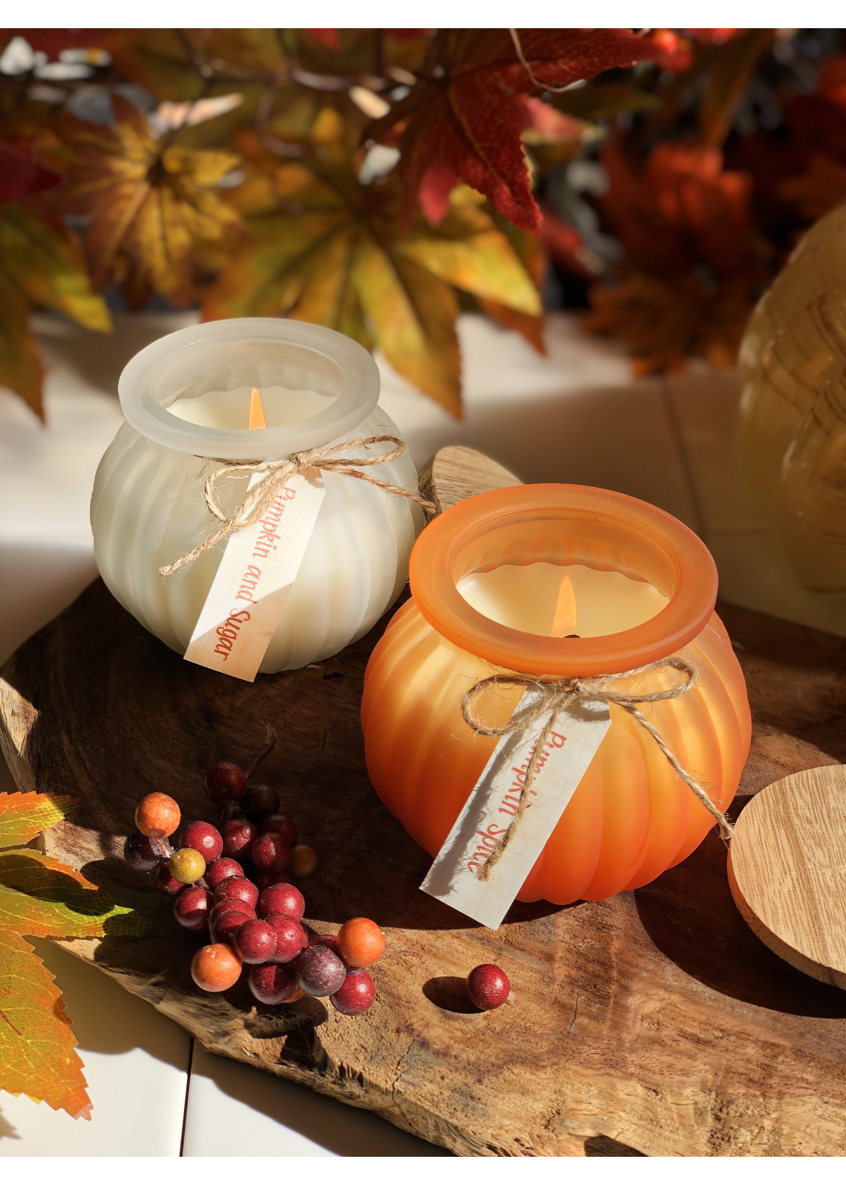 At Home by Mirabeau 7 oz Pumpkin Shaped Glass Candle,  Pumpkin Spice