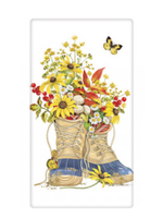 Mary Lake Thompson Fall Flower Boots Bagged Towel