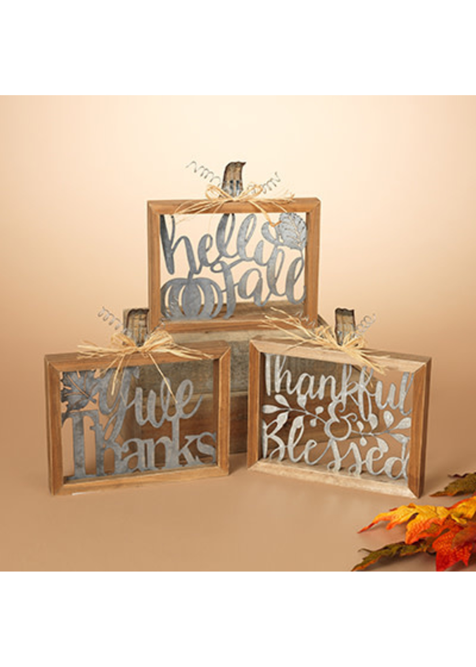 Gerson Companies Thankful & Blessed Wood & Metal Harvest Sign