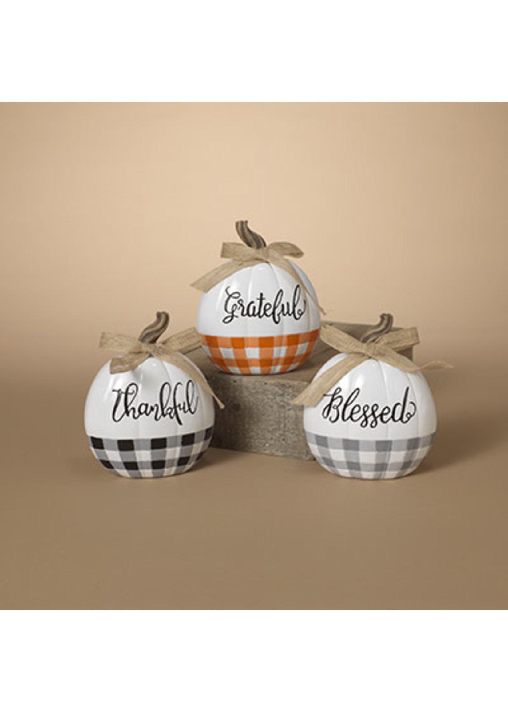 Gerson Companies Blessed Resin Harvest Pumpkin with Bow