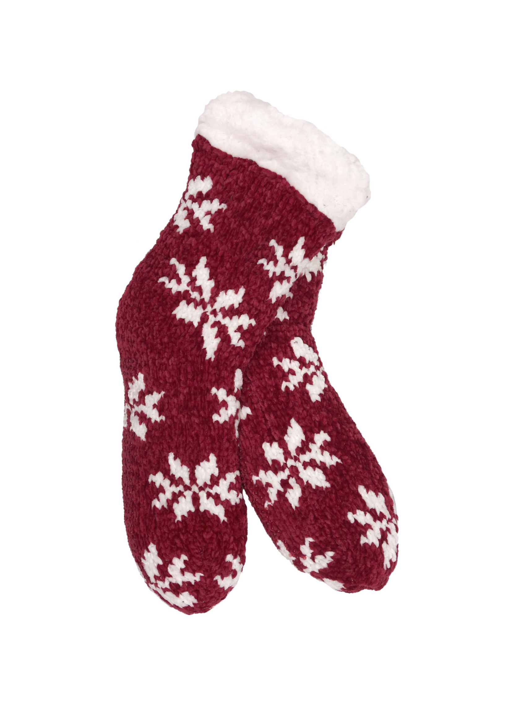 Fashion by Mirabeau Red Chenille Snowflake Thermal Slipper Socks