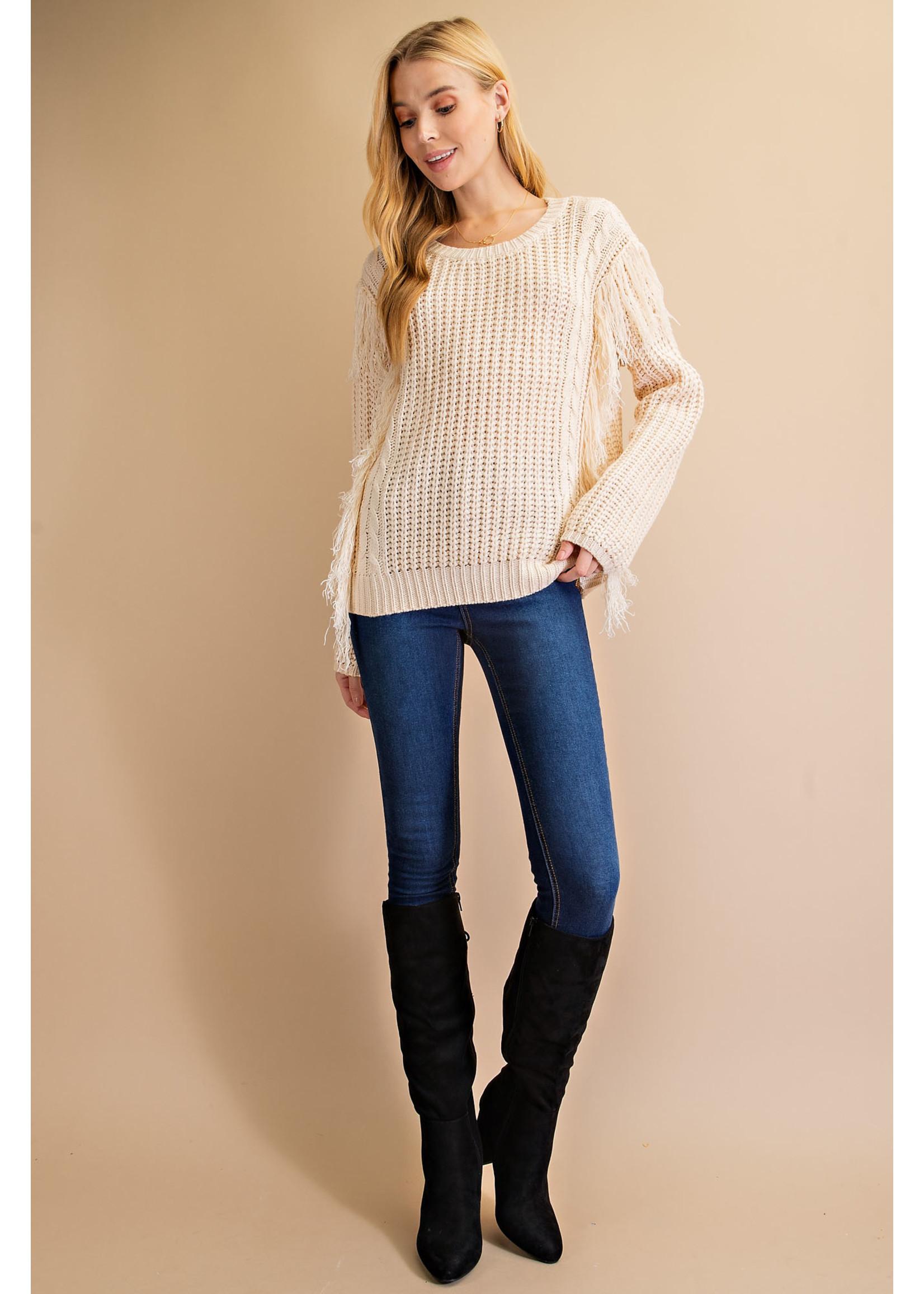 L Love Fringe Pullover Sweater