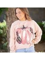 August Bleu Blush Leopard Pumpkin Sweatshirt