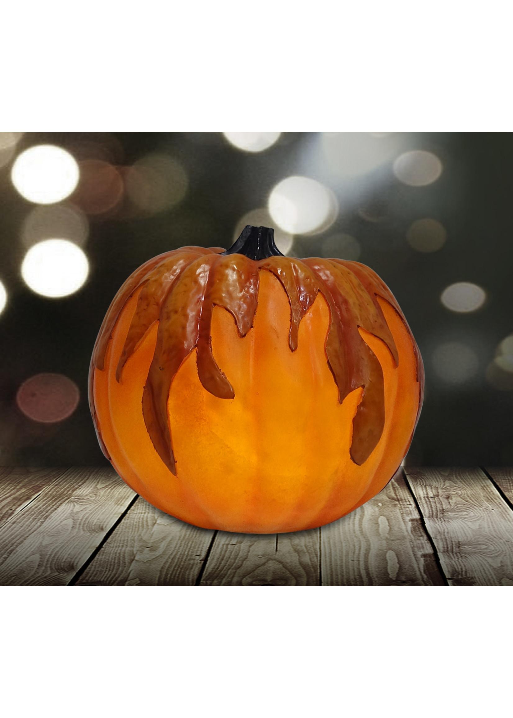 "9.125"" Flickering LED Flame Pumpkin"