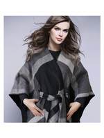 Fashion by Mirabeau Monica Plaid Tie Waisted Poncho