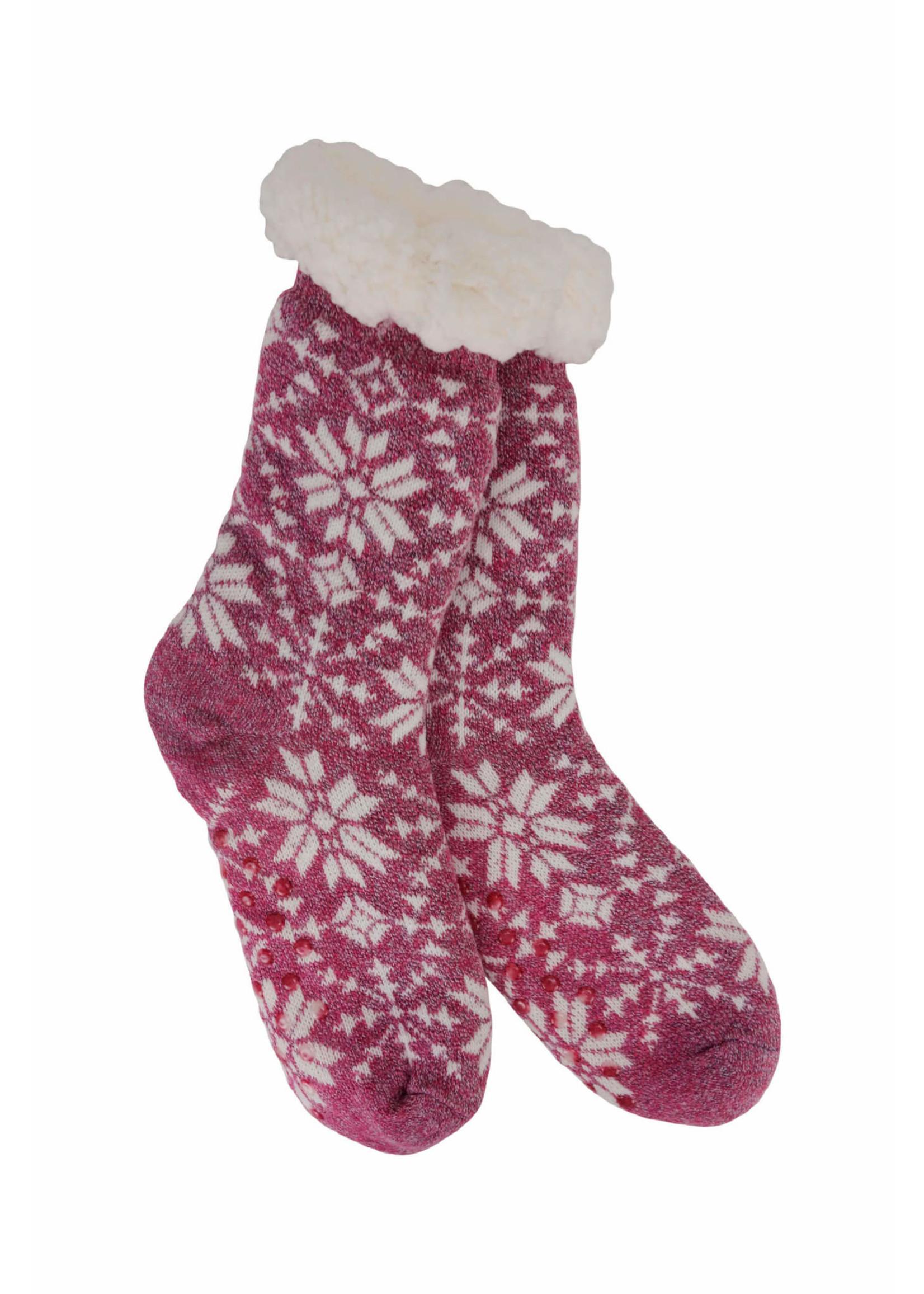 Fashion by Mirabeau Heather Blend Snowflake Knit Thermal Slipper Socks