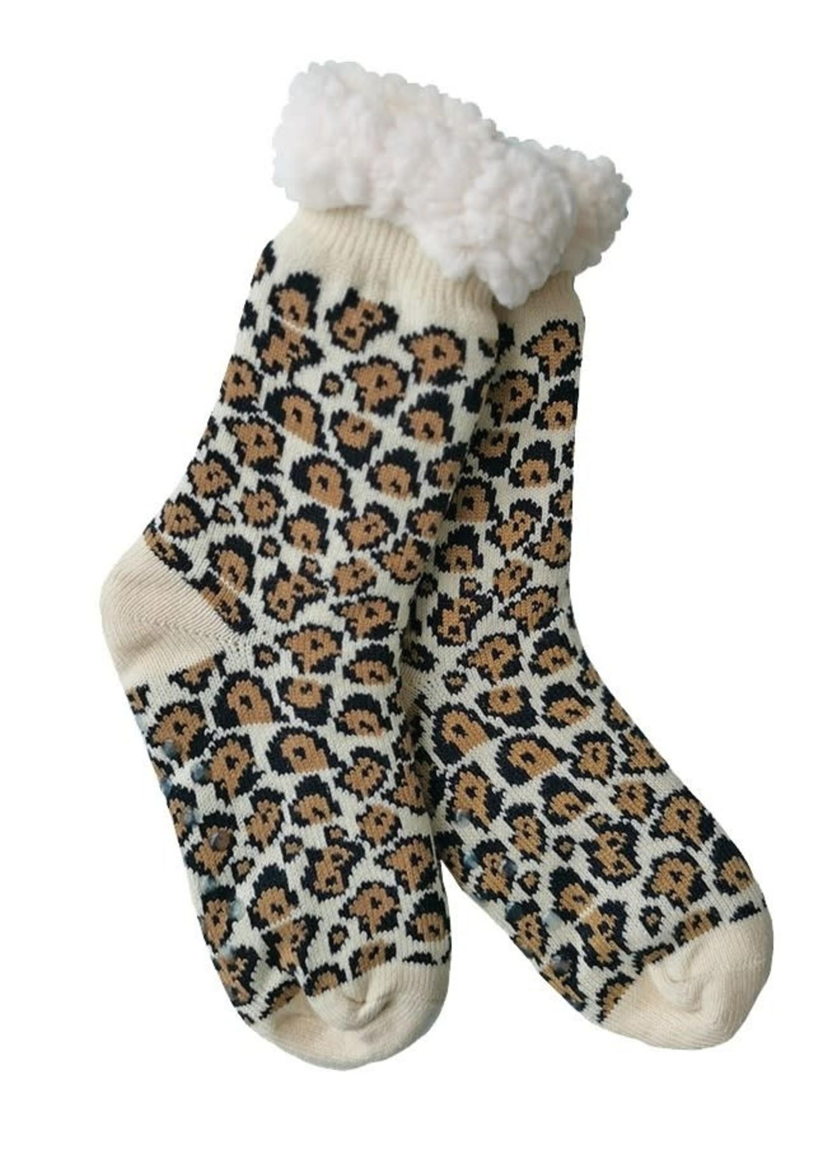 Fashion by Mirabeau Leopard Print Thermal Slipper Socks