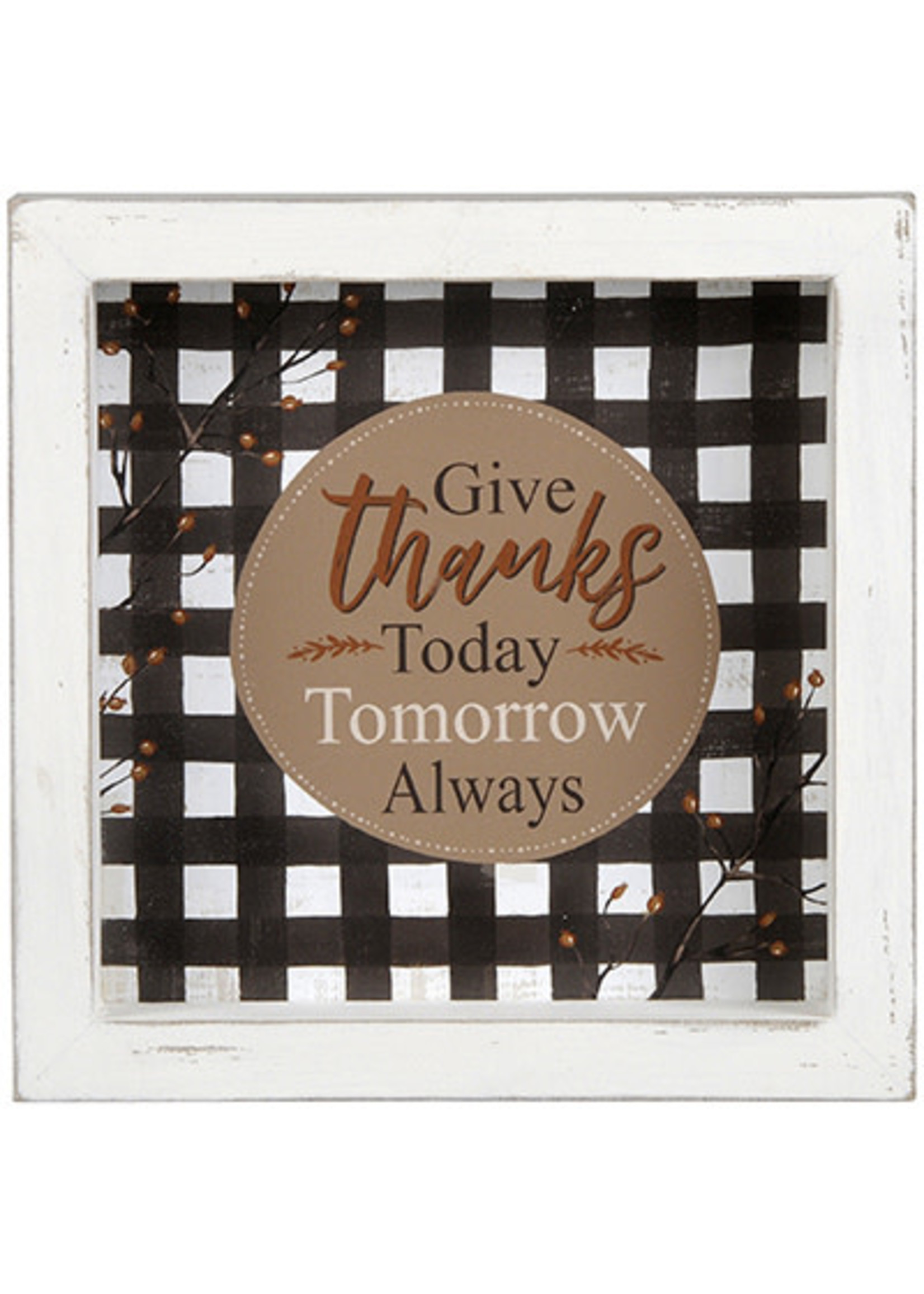 "Blossom Bucket ""Give Thanks Today Tomorrow Always"" Shadow Box"