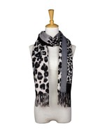Fashion by Mirabeau Abstract & Leopard Print Scarf with Fringe, Asst