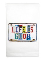 Mariasch Studios Life is Good Nebraska License Flour Sack Towel