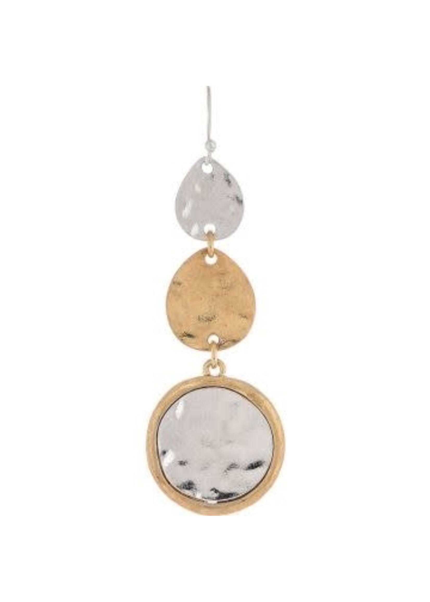 Rain Jewelry Two Tone Triple Shape Drop Earring