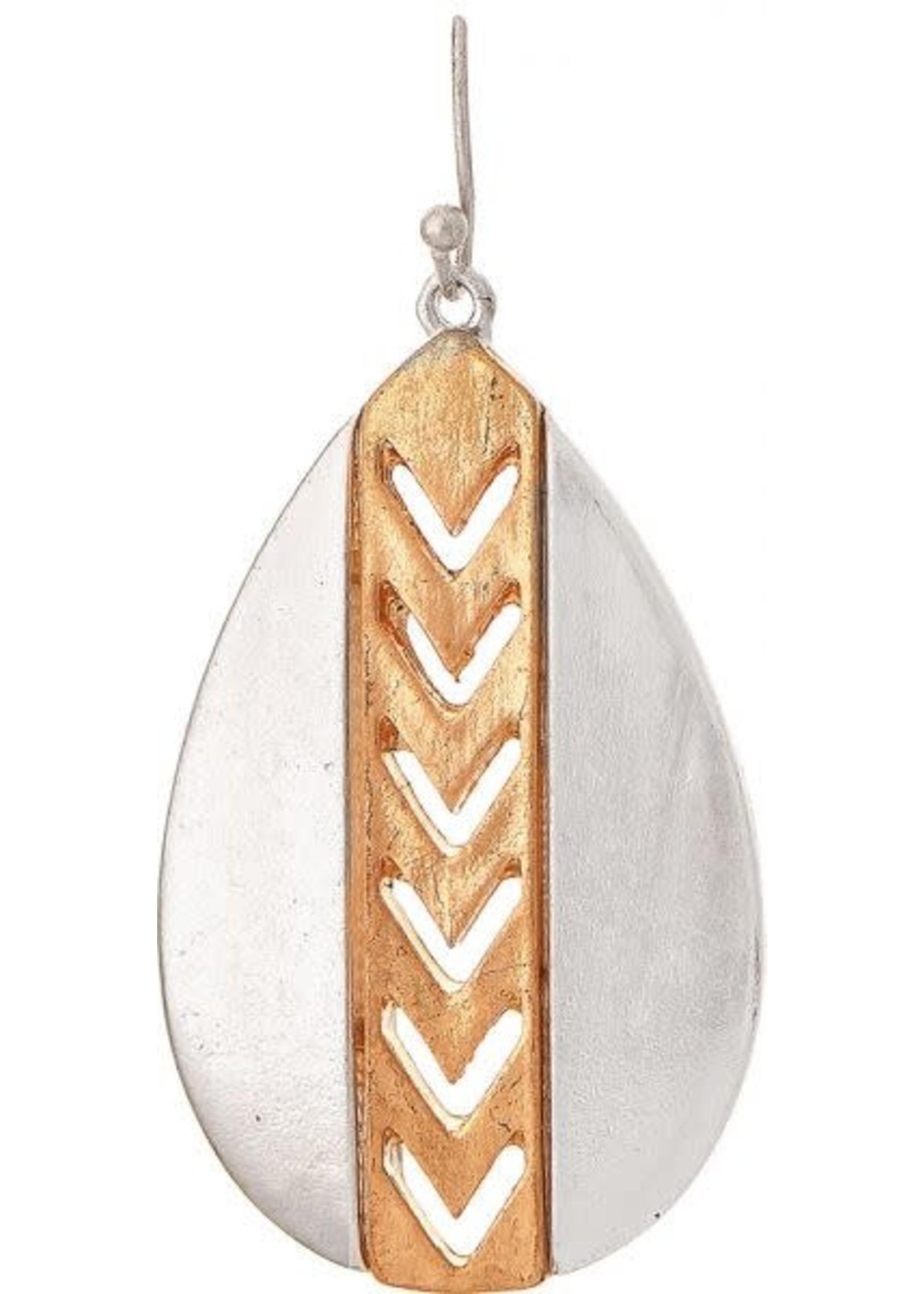 Rain Jewelry Two Tone Gold Strip Teardrop Earring