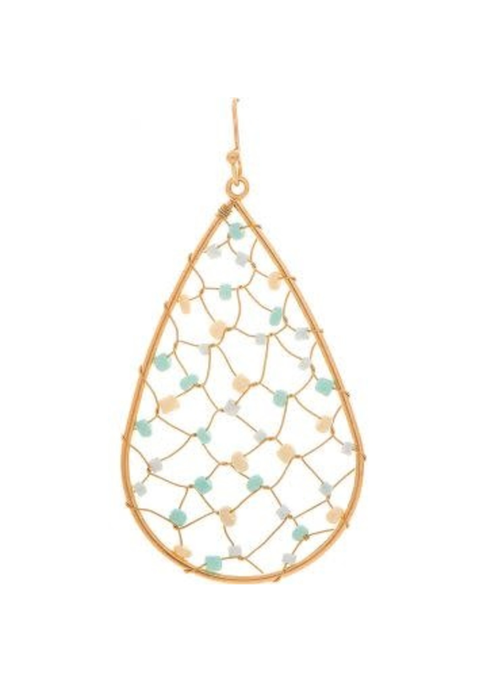 Rain Jewelry Teardrop Turquoise Threaded Bead Earring