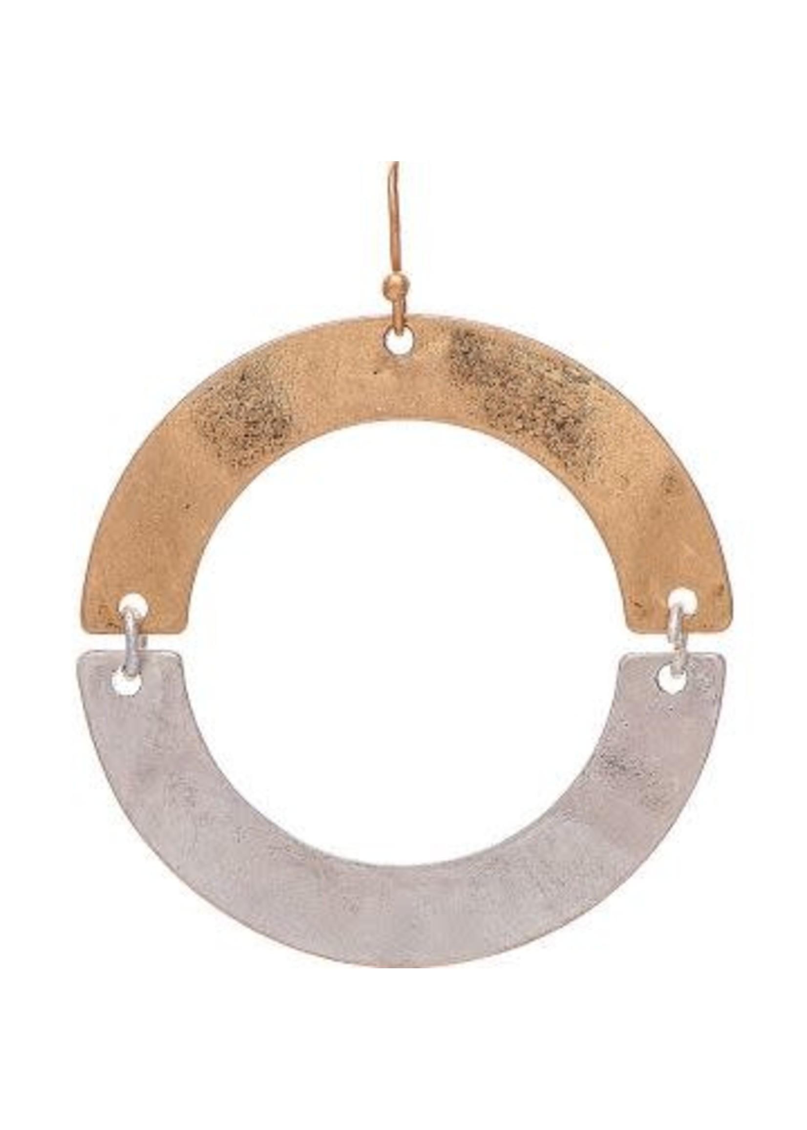 Rain Jewelry Two Tone Hinged Half Circles Earrings