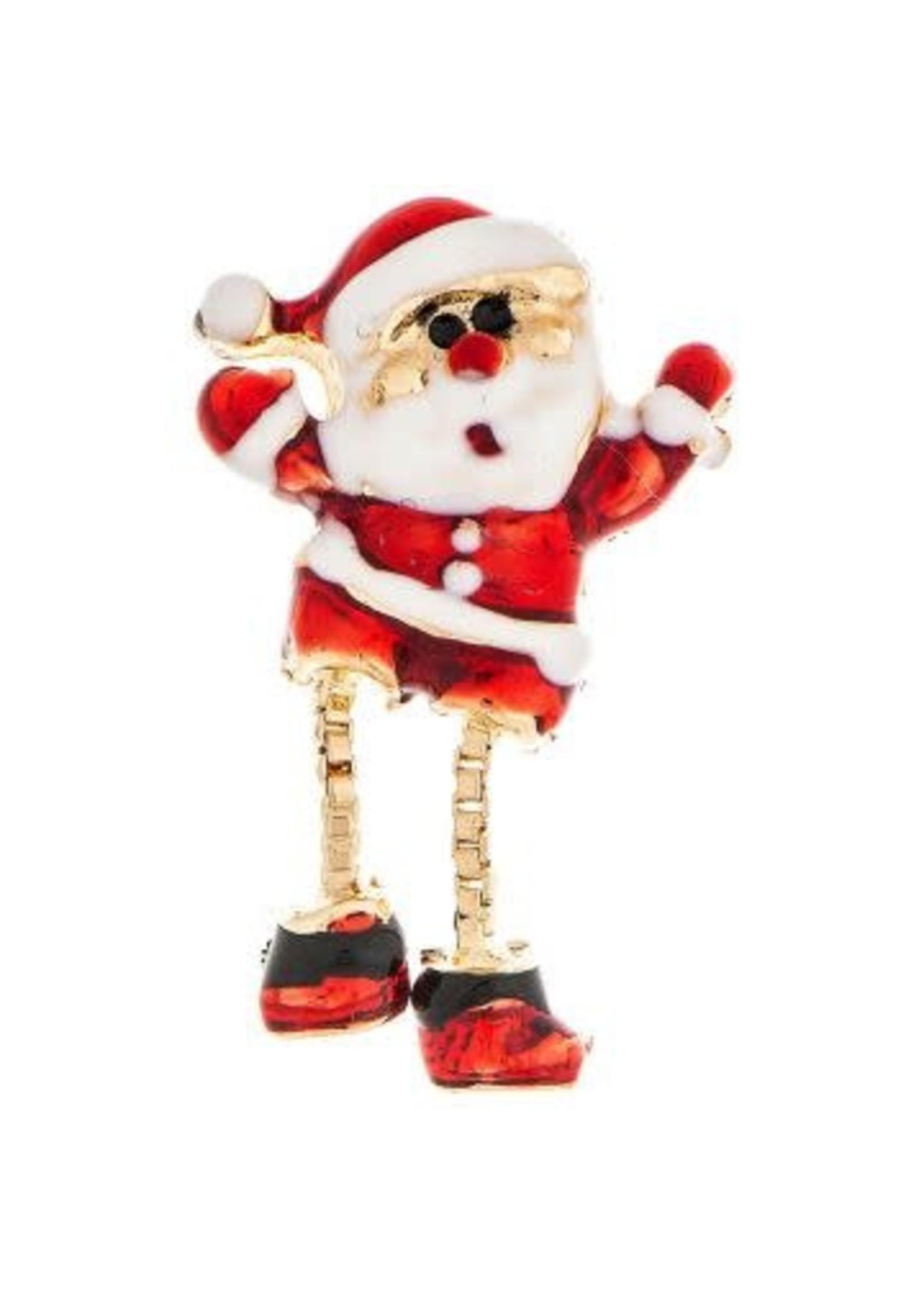 Rain Jewelry Gold Dangly Leg Santa Earring