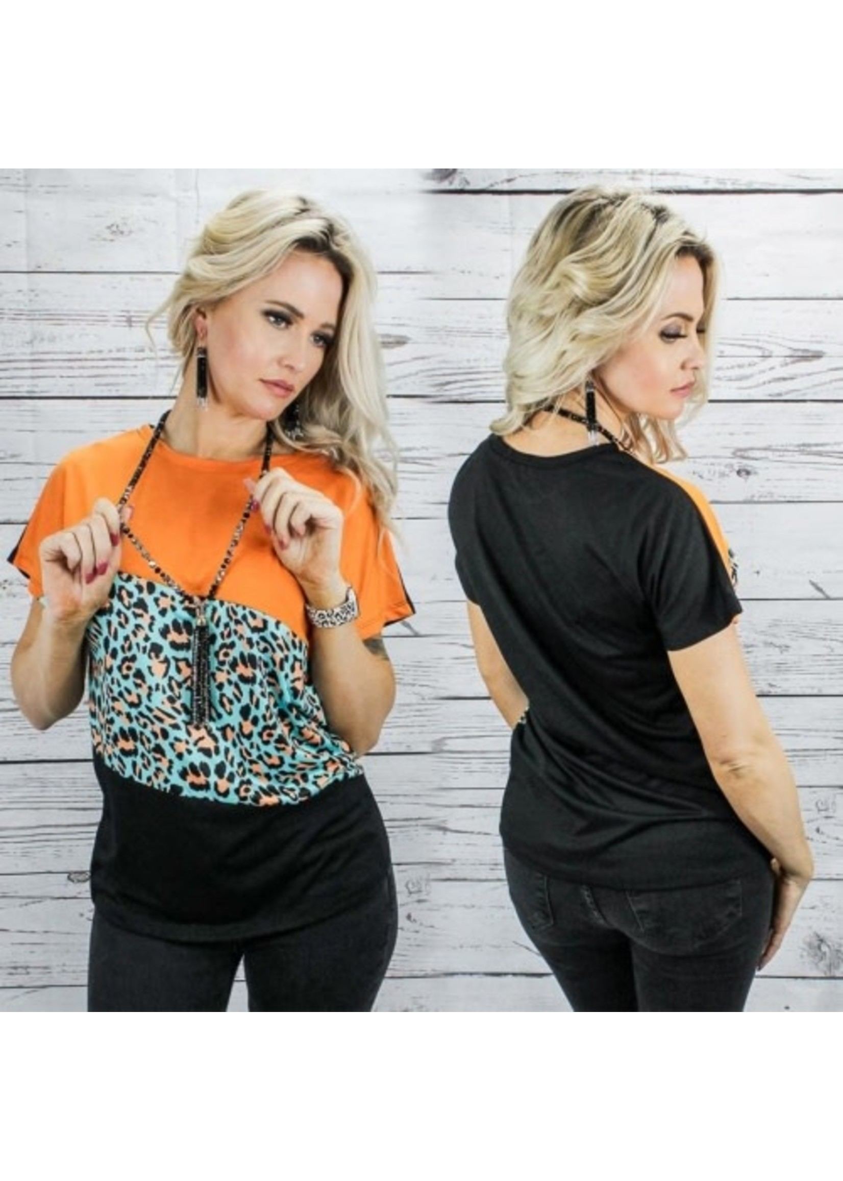 Sunshine & Rodeos Tri Color Half Sleeve Top with Leopard Print