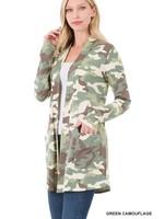 Zenana Camouflage Open Cardigan