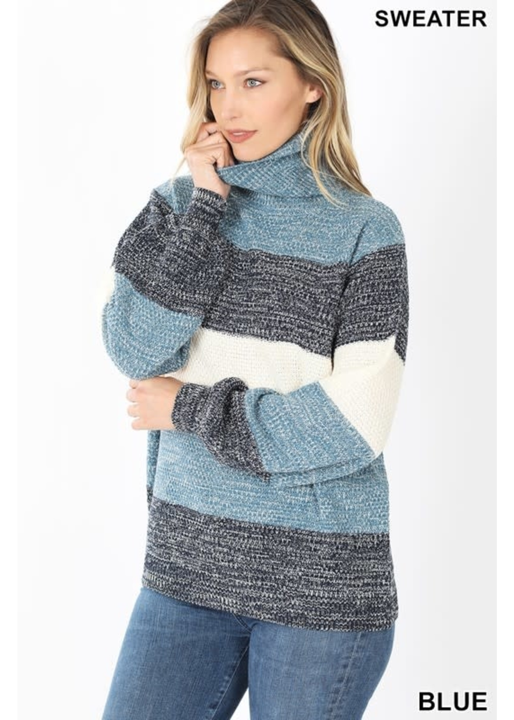 Zenana Color Block Balloon Sleeve Turtleneck Sweater