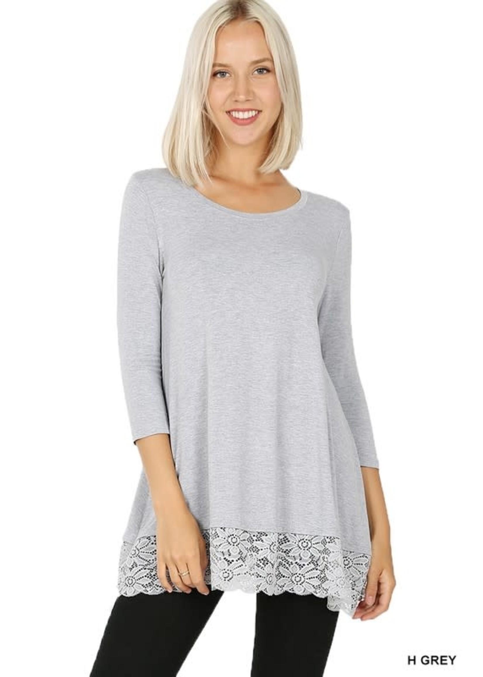 Zenana 3/4 Sleeve Lace Trim Hem Tunic Top