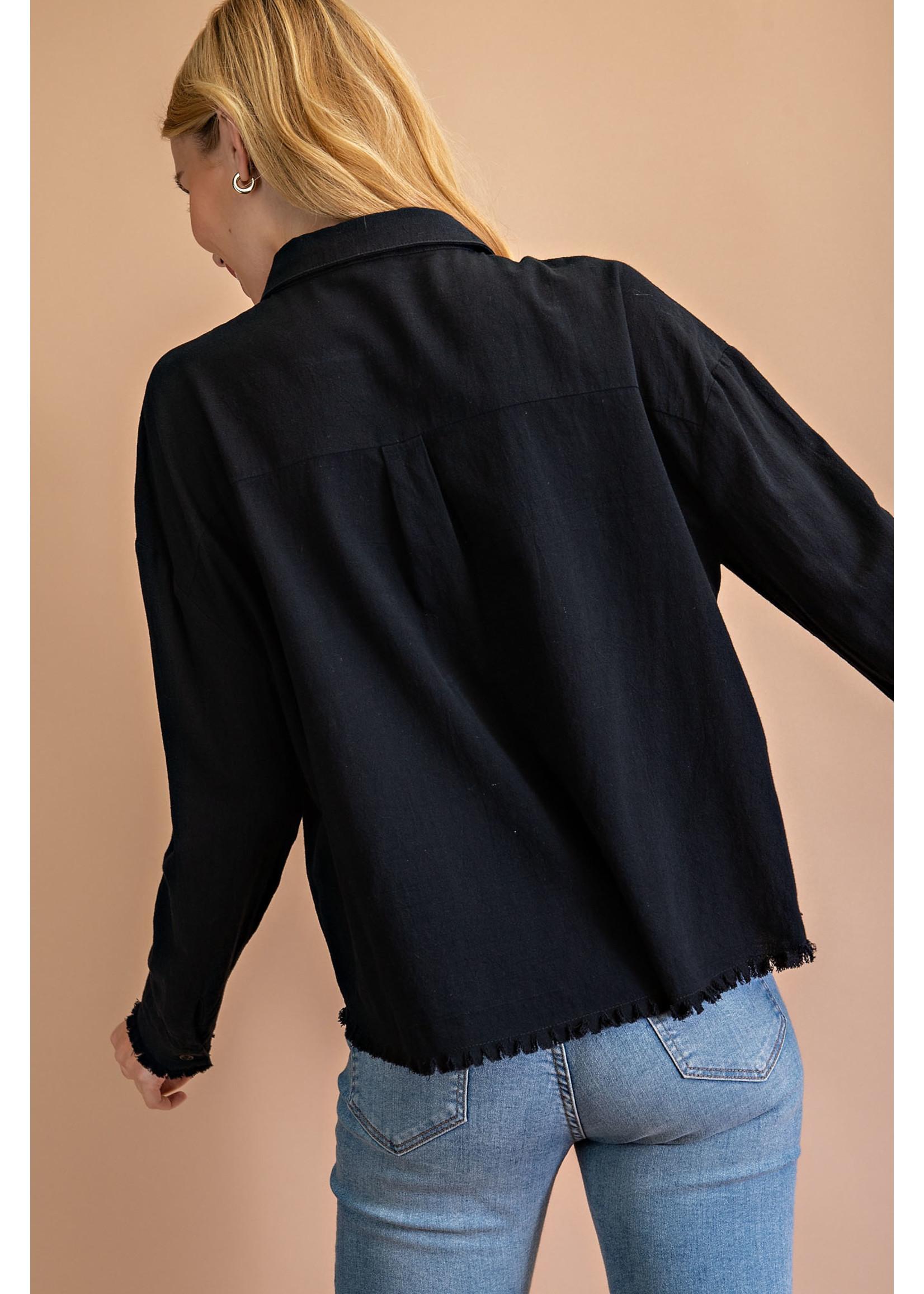 L Love Long Sleeve Frayed Dress Shirt
