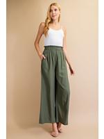 L Love Elastic Waist Wide Leg Pants