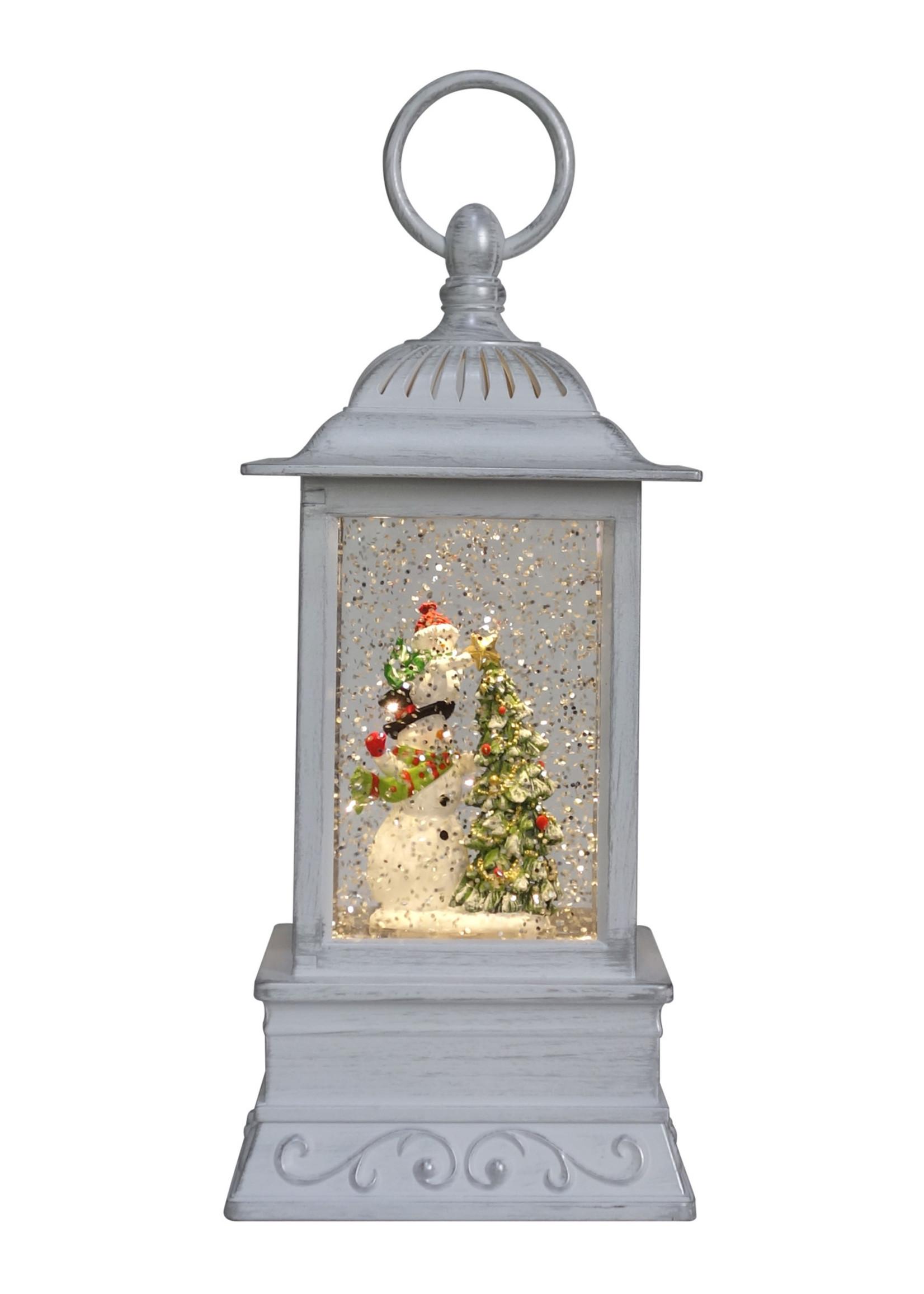"Opportunities 10.5"" Snowman Family Glitter Lantern"