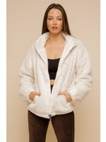 Hem & Thread Contrast Lined Faux Fur Jacket