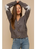 Hem & Thread Star Print Detailed Two-Tone Sweater Cardigan