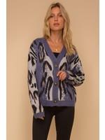 Hem & Thread Leopard Jacquard Cardigan Sweater