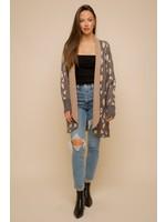 Hem & Thread Heart Leopard Open Raglan Sweater Cardigan
