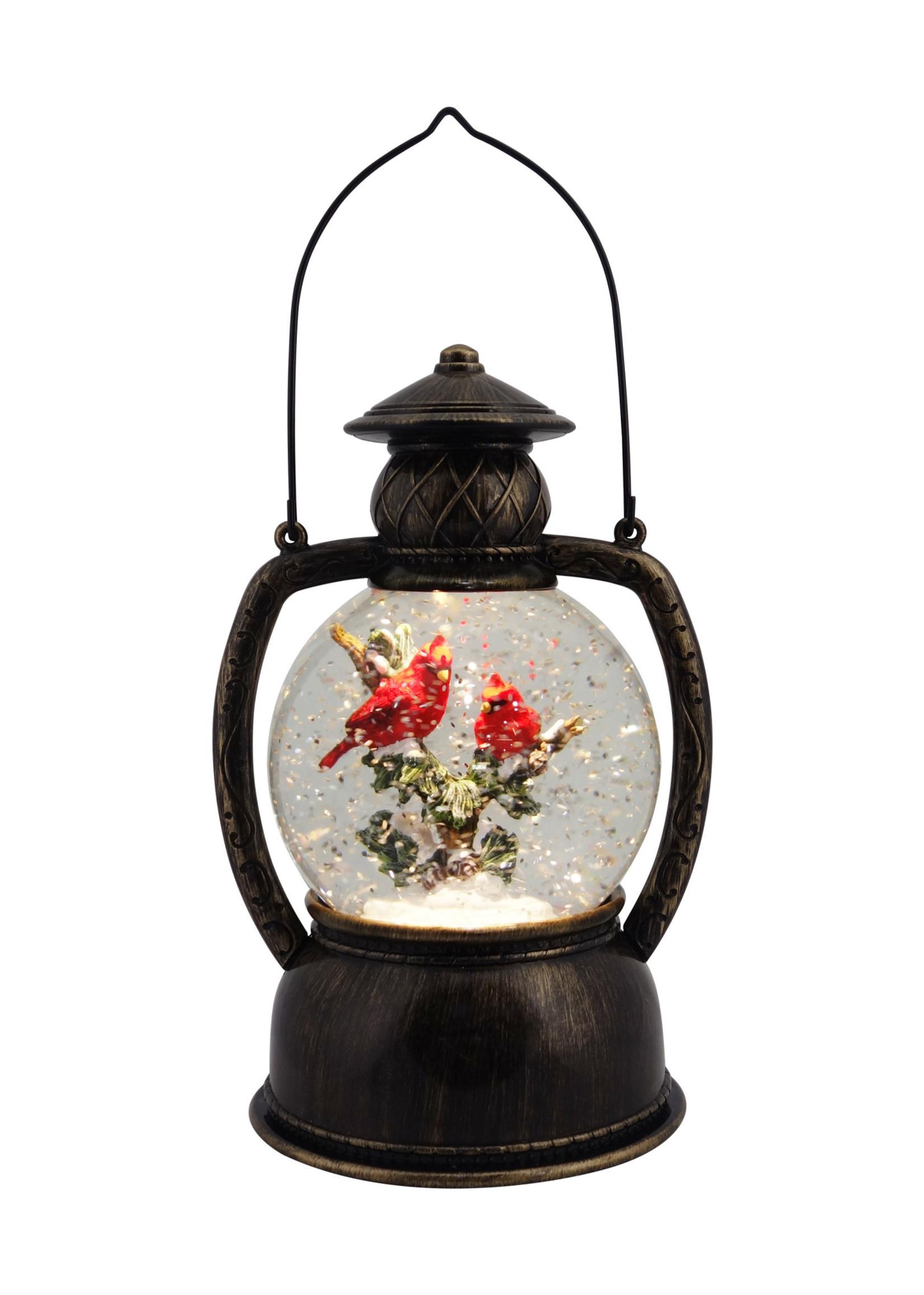 """Christmas is Forever 10.25"""" Cardinal Glitter Lantern"""